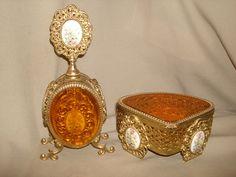 Vintage Ornate Ormolu FILIGREE PORCELAIN by PastPossessionsOnly