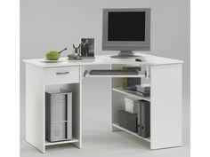 Bureau d'angle avec tiroir et plateau clavier, blanc - dim : l118 x h76 x p77 cm -pegane- - Vente de Bureau - Conforama