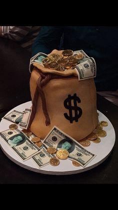 bag cake Money bag cakeNo Money No Money may refer to: Money Birthday Cake, Money Cake, Happy Birthday, Unique Cakes, Creative Cakes, Fancy Cakes, Cute Cakes, Bolo Original, Bag Cake
