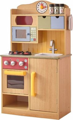 Toy Kitchen Sets - Teamson Kids Little Chef Wooden Toy Play Kitchen with Accessories Burlywood * Learn more by visiting the image link. Kids Wooden Play Kitchen, Kitchen Sets For Kids, Toddler Play Kitchen, Kids Kitchen Accessories, Diy Karton, Play Kitchens, Kitchen Stove, Kitchen Cook, Wood Toys