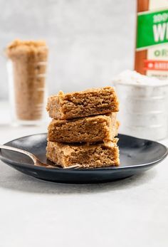 Whole Wheat Vegan Blondies that are SO soft and chewy! #vegan #baking #desserts #vegandesserts