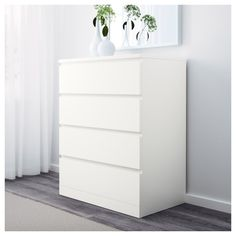 IKEA - MALM, Chest of 4 drawers, white, Of course your home should be a safe place for the entire family. That's why a safety fitting is included so that you can attach the chest of drawers to the wall. Smooth running drawers with pull-out stop. Ikea Chest Of Drawers, Bedroom Drawers, Dresser Storage, 6 Drawer Chest, White Bedroom Furniture, Ikea Bedroom, Dresser Drawers, Bedroom Storage, Ikea Malm Dresser