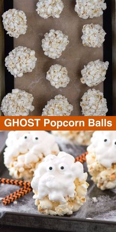 Our family loved making this easy halloween treat! The post 5 ingredient GHOST popcorn balls! Our family loved making this easy halloween tr appeared first on Tasty Recipes. Comida De Halloween Ideas, Halloween Food Crafts, Hallowen Food, Halloween Treats For Kids, Halloween Sweets, Halloween Party Snacks, Halloween Baking, Halloween Goodies, Halloween Food For Party