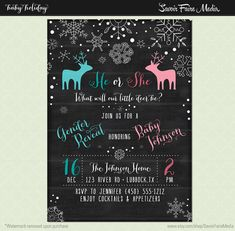 Winter Snowflake Gender Reveal Chalkboard by SavoirFaireMedia