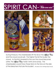 "If doing a sports party theme, decorate a trash can and fill it with give away items to be used as party favors - or while watching the ""game"" on t.: dynamic stretching for cheer Cheerleading Spirit Gifts, Cheer Spirit, Cheer Stunts, Cheer Gifts, Cheerleading Bows, Football Cheer, Cheer Camp, Cheer Coaches, Cheer Dance"