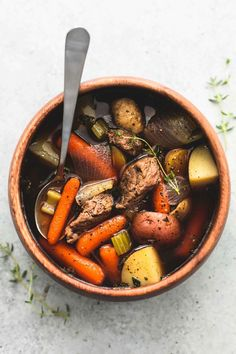 Hearty and flavorful slow cooker beef and potato stew is chock-full of juicy, tender beef and savory vegetables. Let your crockpot do the work and enjoy this tasty dinner with just 10 minutes of prep! Healthy Slow Cooker, Slow Cooker Beef, Healthy Crockpot Recipes, Slow Cooker Recipes, Beef Recipes, Thanksgiving Recipes Crockpot, Crockpot Ideas, Yummy Recipes, Recipies