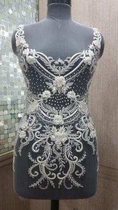 Hand Beaded and Embroidered WEDDING DRESS Bodice In Over 50 Styles - PARIS-bridal bodice, bodice applique, large appliques, wedding dress bodice, evening gown bodice, bridal appliques, bridal textiles, allyson james