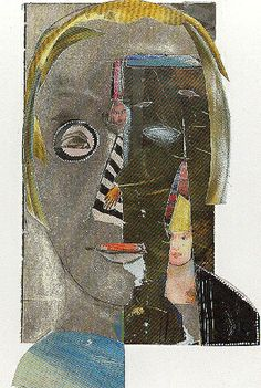 """jacqui wegren collage: 'looking at you' no. 3 in a series found paper on white card 8"""" by 11"""""""