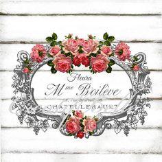 French Vintage Label Roses Ornate Frame Large by CreatifBelle $2