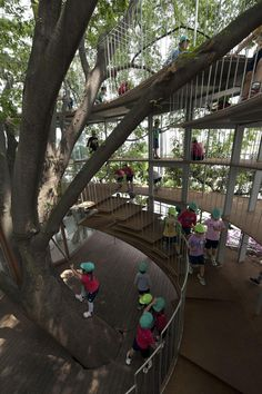 Fuji Kindergarten - The space appears to have just two floors, but for the children then structure has six floors with volumes that are just one meter high. The compressed spaces, which can only be reached by crawling, further the freedom of movement and ability to use the body as a means of learning.