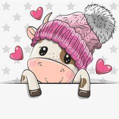 Cow Cartoon Images, Cartoon Bat, Cute Cartoon Animals, Baby Animals, Clipart Baby, Cute Images, Cute Pictures, Unicorn Outline, Sublimation Mugs