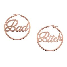 BAD in one ear and BITCH in the other, these hoops are basically going to change your life. From the Bing Bang x Me & You collaboration.Packaged in our luxe pink gift boxes with limited edition collab red ribbon. Pink Gift Box, Pink Gifts, Heavy Duty Floor Cleaner, Louis Vuitton Necklace, Jewelry Branding, Accessories, Rose Gold, Dressing Room, 2000s