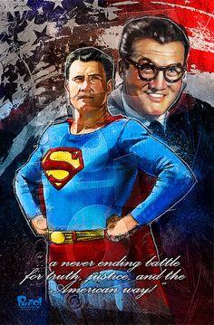 George Reeves is Clark Kent/Superman First Superman, Superman Family, Batman Vs Superman, Superman Stuff, Superman Movies, Superman Pictures, Superman Artwork, Original Superman, George Reeves