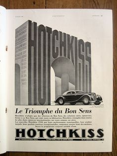 1935 ad for Hotchkiss found in L'Illustration magazine