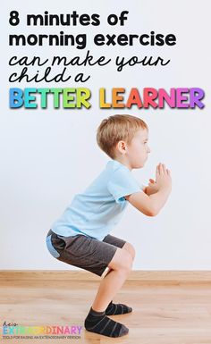 Learn how exercising in the morning actually makes kids better learners - helping them focus and retain more information to memory - helps kids with ADHD and autism too . #Autism #ADHDKids #HealthyKids #ActiveKids #Activitiesforkids #WorkoutForKids #SensoryPlay #GrossMotorActivities Physical Activities, Toddler Activities, Learning Activities, Kids Learning, Health Activities, Adhd And Autism, Adhd Kids, Yoga For Kids, Exercise For Kids