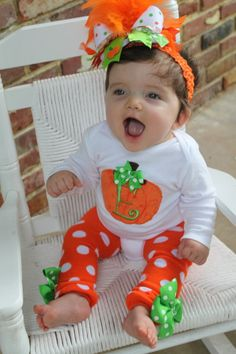 Baby Girl Pumpkin Outfit -- Pretty Little Pumpkin -- onesie, leg warmers and Over The Top bow