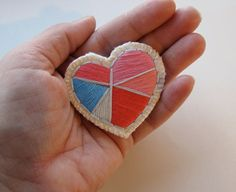 Geometric heart brooch with reds pinks and by AnAstridEndeavor, $25.00