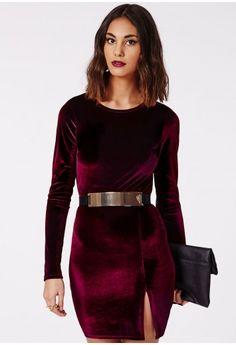 Missguided - Larkin Velvet Bodycon Dress Burgundy