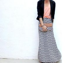 Striped Maxi Black and White Skirt with coral top
