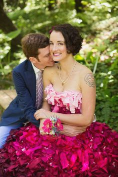 Golden Gate Park Picnic Wedding with a Homemade Pink Ombre Wedding Gown: Adriene & Shannon
