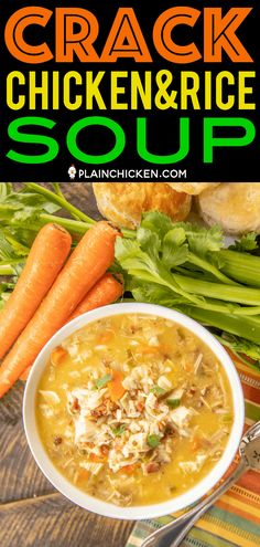 Crack Chicken and Rice Soup – this soup should come with a warning label! Ready in 30 minutes! New Recipes, Soup Recipes, Chicken Recipes, Cooking Recipes, Favorite Recipes, Healthy Recipes, Chicken Rice Soup, Crack Chicken, Cheese Rice