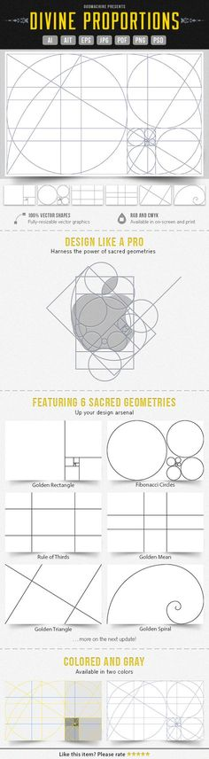 Divine Proportions: the six sacred geometries of graphic design, applicable to logos, graphics, websites, and more. (Inexpensive Adobe templates available for purchase. Graphisches Design, Tool Design, Design Elements, Layout Print, Webdesign Layouts, Character Design Challenge, Divine Proportion, Design Theory, Grafik Design