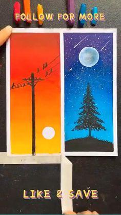 Art Drawings Beautiful, Art Drawings For Kids, Art Drawings Sketches Simple, Easy Drawings, Oil Pastel Drawings Easy, Oil Pastel Art, Oil Pastel Paintings, Diy Canvas Art, Painting Canvas