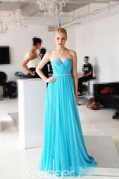 Ocean Blue Strapless Sweetheart Long Chiffon Pleated Prom Dress