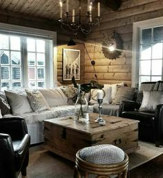 Casually going to hole up in this dreamy cabin whilst we pretend this week is not a thing See you Friday afternoon, universe! Log Home Interiors, Cottage Interiors, Yurt Living, Modern Log Cabins, Rustic Room, Log Homes, Home Decor Inspiration, Interior Design Living Room, House Design