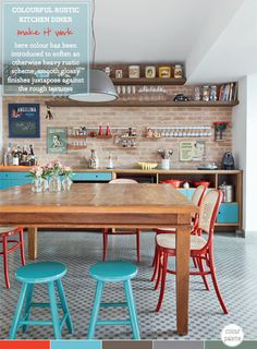 Colour Palette: Colourful Rustic Kitchen Diner (Photography by Evelyn Miller.)...my red thrifted kitchen table could totally work with this look!