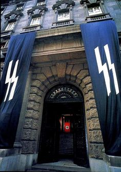 An SS headquarters in the city of Prague, which was made into a protectorate of the German Reich via peaceful diplomacy.