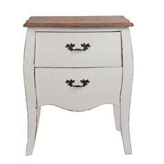 Country Bedside Table, White/Natural