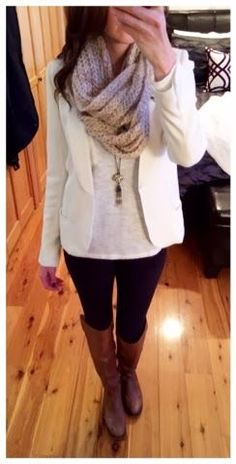 Winter outfit - chestnut riding boots, winter white blazer, and chunky oatmeal infinity scarf