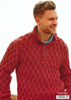 Cabled Sweater in Stylecraft Weekender Super Chunky Polo Sweater, Cable Sweater, Men Sweater, Knit Fashion, Mens Fashion, Hand Knitted Sweaters, Knitting Designs, Knitting Patterns, Mens Jumpers