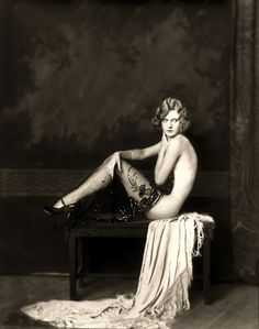 Ziegfeld Model - Risque  Ziegfeld Follies Girl    The Ziegfeld Follies were a series of elaborate theatrical productions on Broadway in New York City from 1907 through 1931.  Inspired by the Folies Bergères of Paris, the Ziegfeld Follies were conceived and mounted by Florenz Ziegfeld    Photography by Alfred Cheney Johnston, the official photographer of the Zeigfeld Follies