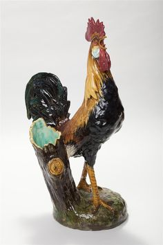 Massier, Vallauris, France, Majolica Model Of Rooster Spill Vase Rooster Kitchen Decor, Rooster Decor, Ceramic Chicken, Ceramic Rooster, Vases, Down On The Farm, Farm Life, Farm Animals, French Antiques