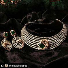 Stunning #diamond #emerald #necklace and matching #earrings by Namita Nanda…