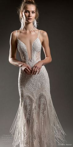 [For a party, yes.] emanuel brides 2018 bridal spaghetti strap deep plunging sweetheart neckline full embellishment sexy elegant fit and flare sheath wedding dress open v back sweep train mv -- Emanuel Brides 2018 Wedding Dresses Fit And Flare Wedding Dress, Sexy Wedding Dresses, Bridal Dresses, Prom Dresses, Fringe Wedding Dress, Fashion Vestidos, Dream Dress, Beautiful Dresses, Elegant Dresses