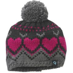 Cold Front Girl's Heart Beanie w/Pom, Gray