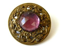 Vintage Antique Metal Button Jeweled Gay 90 Victorian Old Brass Paste Rhinestone | eBay