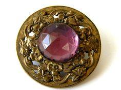 Vintage Antique Metal Button Jeweled Gay 90 Victorian Old Brass Paste Rhinestone | eBay