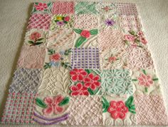 Hey, I found this really awesome Etsy listing at https://www.etsy.com/listing/181238206/vintage-chenille-baby-quilt-garden-of