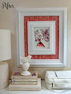 Make a small print more predominant by adding a larger matching frame with fabric as mat.