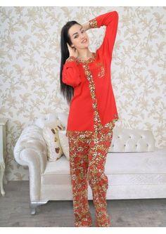 Büyük Beden Kırmızı Bayan Pijama Takımı