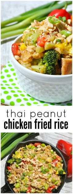 This Thai Peanut Chicken Fried Rice is a healthy and delicious way to use up just about any leftovers that you can pull out of your refrigerator. Its a one-skillet dinner thats loaded with veggies and protein, and it's ready in less than 30 minutes! Thai Peanut Chicken, Fried Chicken, Cooked Chicken, Healthy Eating Recipes, Cooking Recipes, Asian Recipes, Ethnic Recipes, So Little Time, Fried Rice