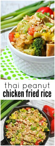 Thai Peanut Chicken Fried Rice - The Seasoned Mom