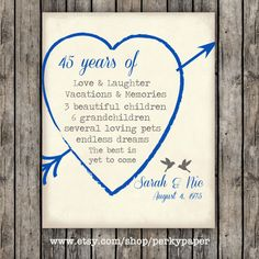 45th Sapphire anniversary Anniversary Gift for by perkypaper