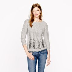 Collection handknit jeweled cable sweater - Pullover - Women's sweaters - J. 2014 Fashion Trends, 2015 Trends, Next Ladies Fashion, Handgestrickte Pullover, Glamorous Evening Gowns, Sparkly Sweater, Hand Knitted Sweaters, Cable Knit Sweaters, Women's Sweaters