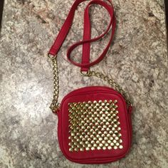 Steve Madden Crossbody Bag Red, gold studded crossbody bag by Steve Madden. Only used a few times. Steve Madden Bags Crossbody Bags