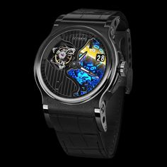 HYSEK Verdict 45mm Tourbillon Black PVD A bold variation of the Verdict Tourbillon 45 mm, this timekeeper, with its black glares and its thousands of reflections, offers an impish glimpse of its in-house caliber, through a translucent sapphire dial PRESENTATION This year, the Verdict Tourbillon is adorned with elegant dark shady colors (See more at En/Fr: http://watchmobile7.com/articles/hysek-verdict-45mm-tourbillon-black-pvd) #watches #montres #hysek @Laura Jayson Theisen Hysek Manufacture